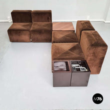 Load image into Gallery viewer, Brown modular sofa Sistema 61 by Giancarlo Piretti for Anonima Castelli, 1970s
