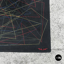 Load image into Gallery viewer, Black wool rug with geometric pattern, 1980s