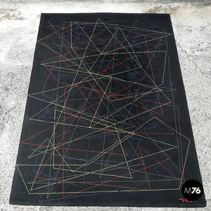 Black wool rug with geometric pattern, 1980s