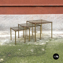 Load image into Gallery viewer, Brass and smoked glass trio of tables, 1970s