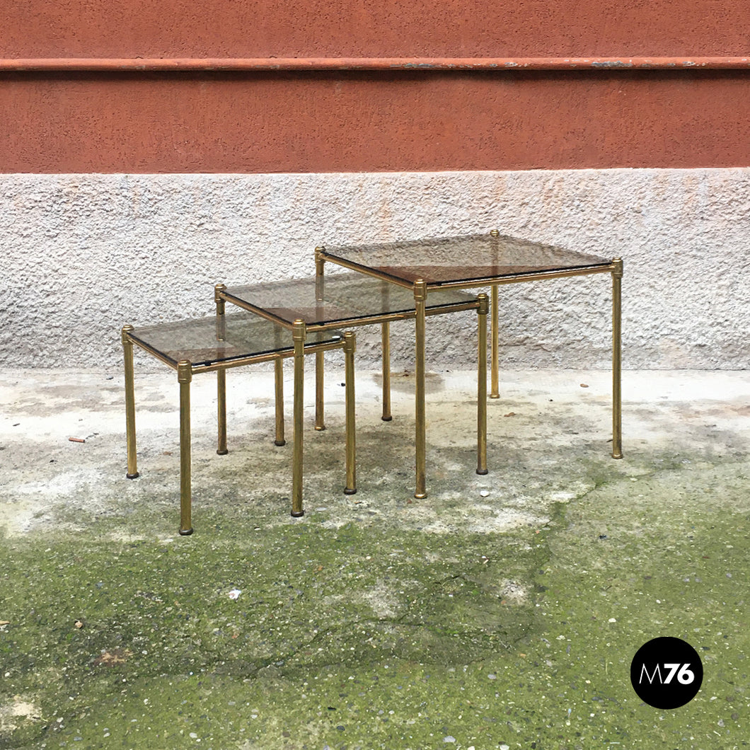 Brass and smoked glass trio of tables, 1970s