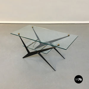 Glass and iron coffee table by Angelo Ostuni, 1950s