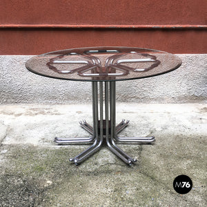 Chromed steel and glass dining table, 1970s