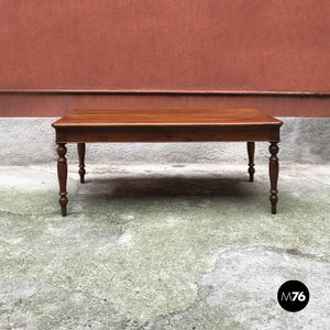 Walnut table with drawers, 1900s
