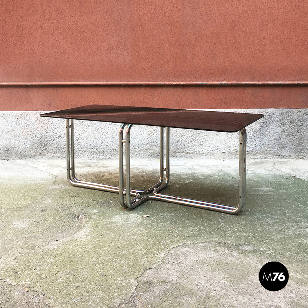 Dining table with smoked glass, 1970s