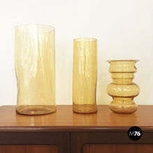 Load image into Gallery viewer, Set of yellow blown Murano glass vases by Carlo Nason, 1970s