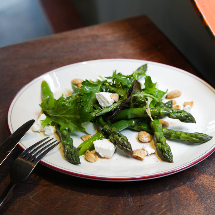 Asparagus Salad with Sheep's Milk Cheese, Roasted Almonds & Herbs
