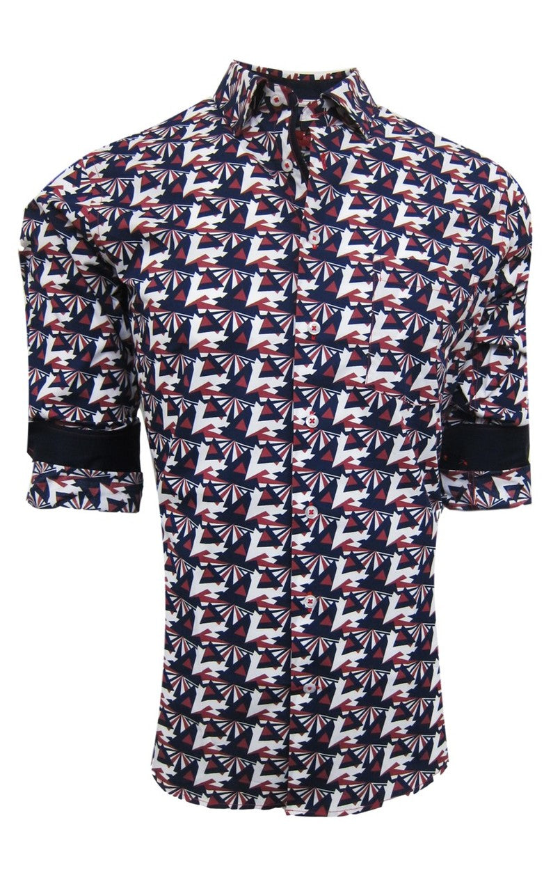 Andover 37009-020M Long Sleeve Geo Print