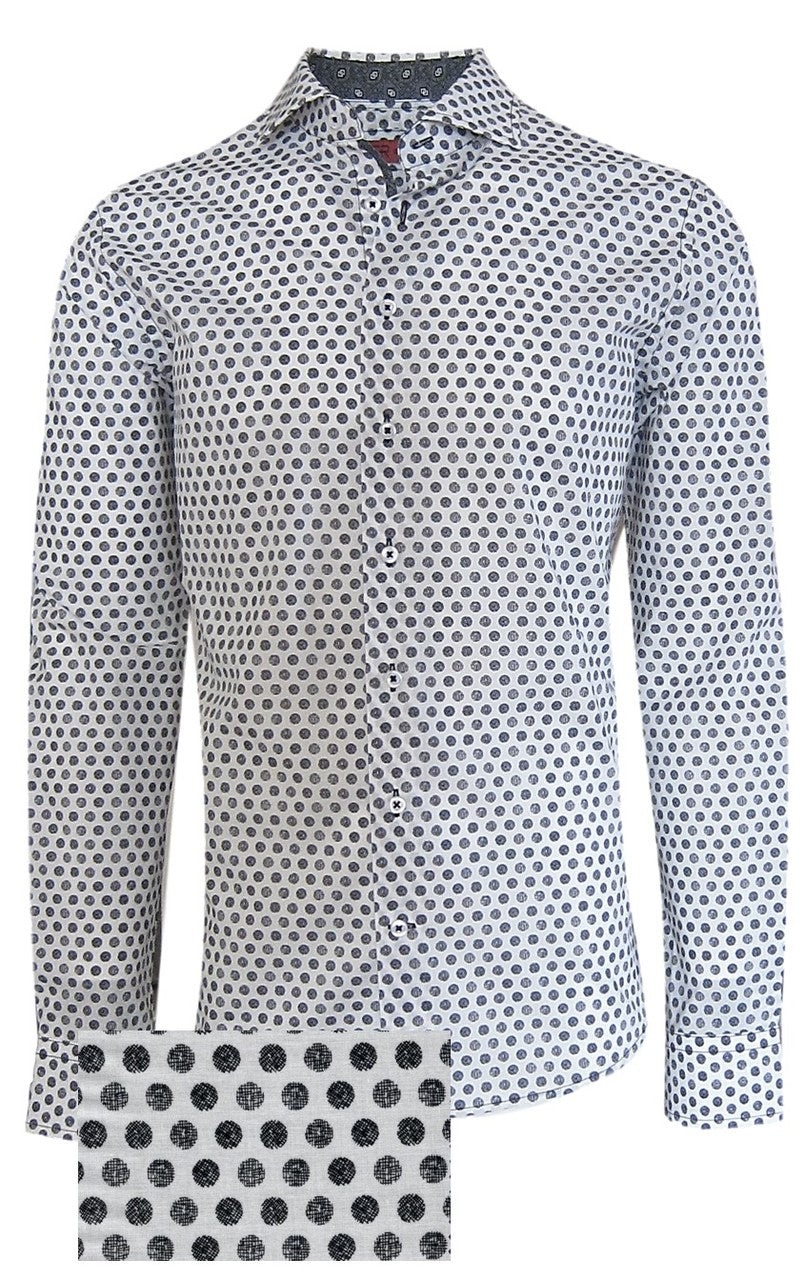 Tacoma 37020-020 Men's Long Sleeve Black & White Dot