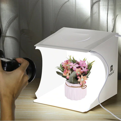 Mini Folding Lightbox with 2 LED panels, take professional-quality photos from your DSLR camera or smartphone