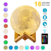 Realistic Moon Lamp Night Light with Display Stand- Rechargeable & Color Changing