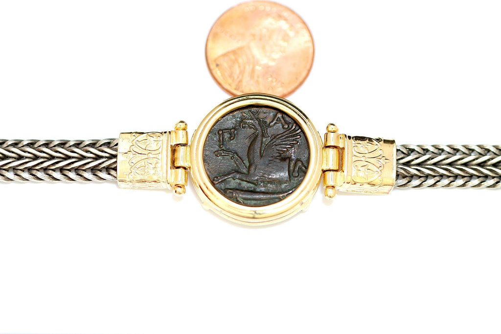 14K Gold Bezel and Silver Chain Bracelet, Greek Coin, with Certificate ID12705 - Erez Ancient Coin Jewelry