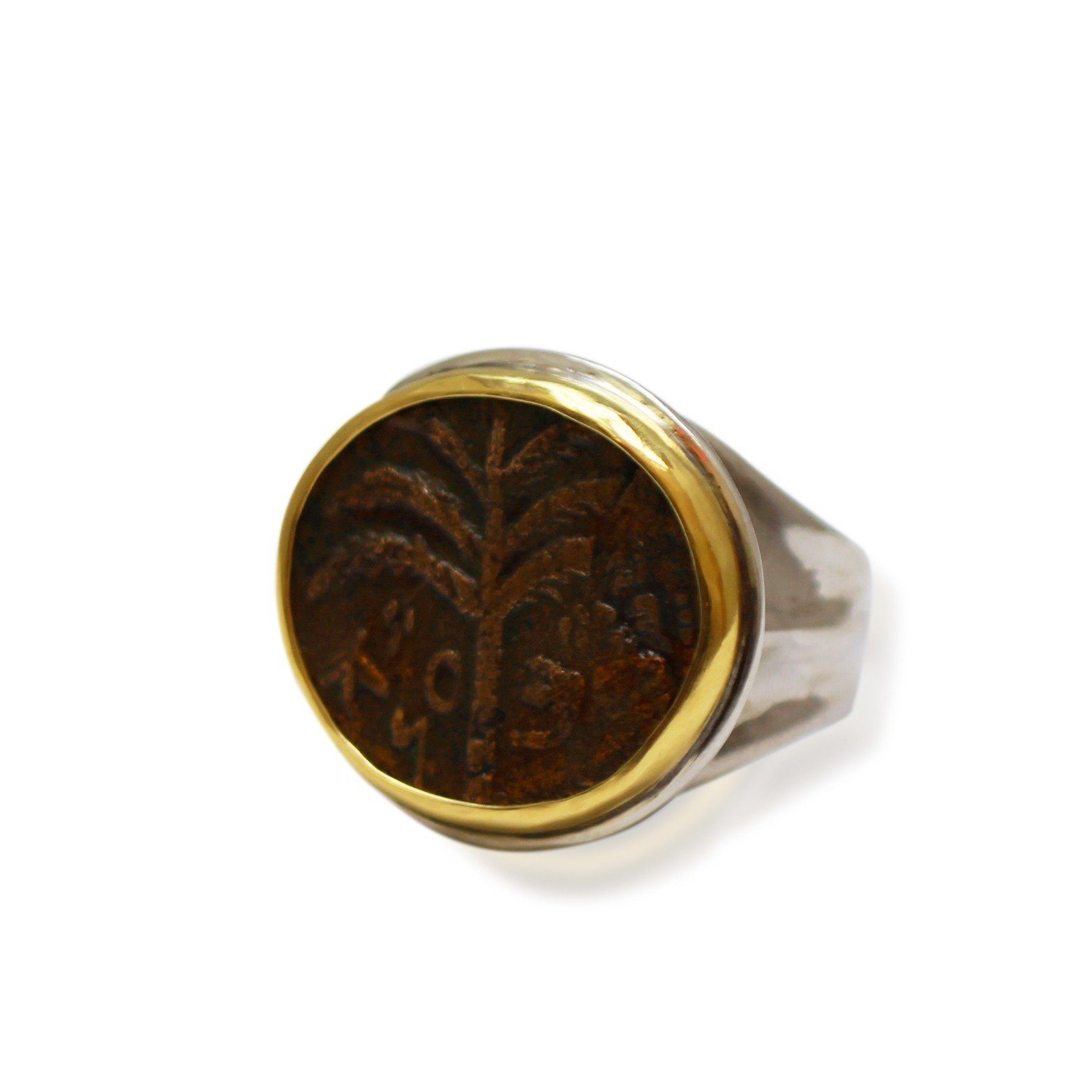 14K Gold Bezel, Silver Ring, Shimon, Bar Cochba, Palm Tree, ID13282 - Erez Ancient Coin Jewelry
