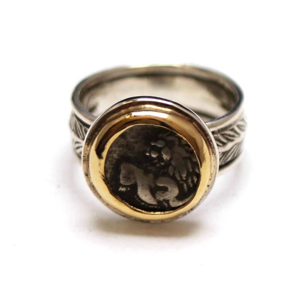 14K Gold Bezel, Sterling Silver Engraved Ring, Ancient Greek , ID13354 - Erez Ancient Coin Jewelry