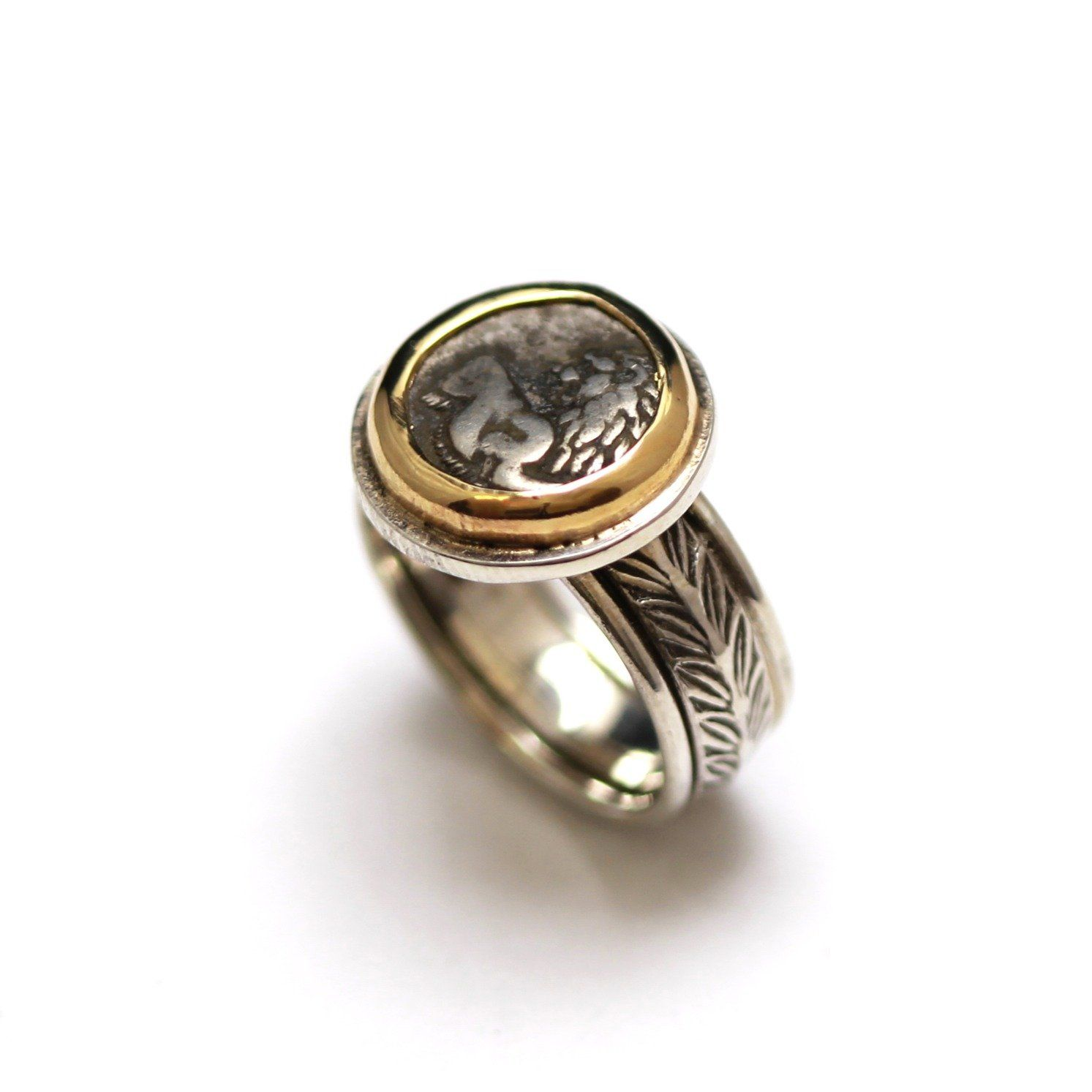 14K Gold Bezel, Sterling Silver Engraved Ring, Ancient Greek , ID13354 - Erez Ancient Coin Jewelry, ancient coin jewelry, men jewelry, genuine ancient coins, made in the US