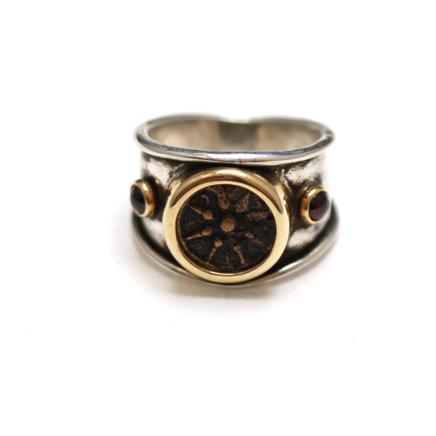 14K Gold Bezels, Garnet, Silver Ring, Widows Mite, Ancient Judaean Coin, ID13353 - Erez Ancient Coin Jewelry