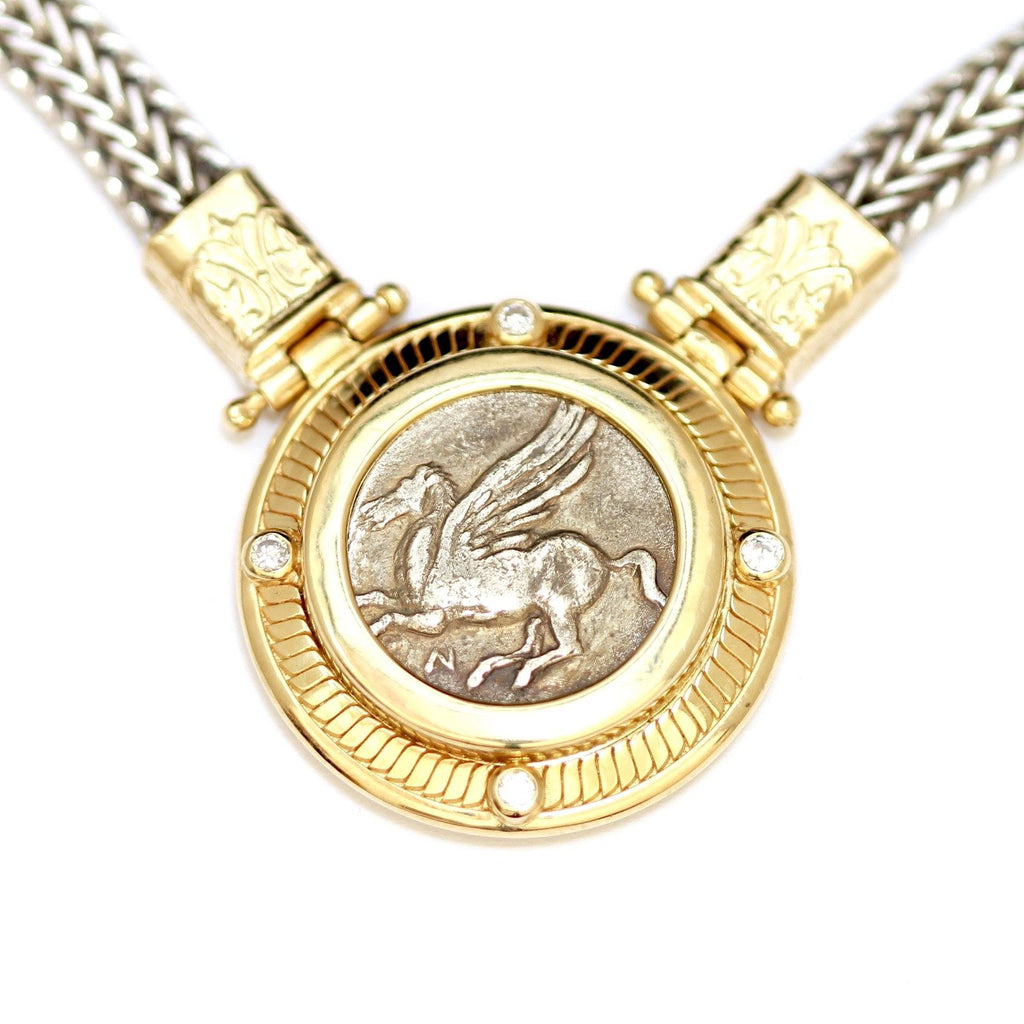 14K Gold Center Necklace, Diamonds (0.16 Ct), Silver Chain, Greek Coin, Pegasus, Cert. ID13115 - Erez Ancient Coin Jewelry, ancient coin jewelry, men jewelry, genuine ancient coins, made in the US