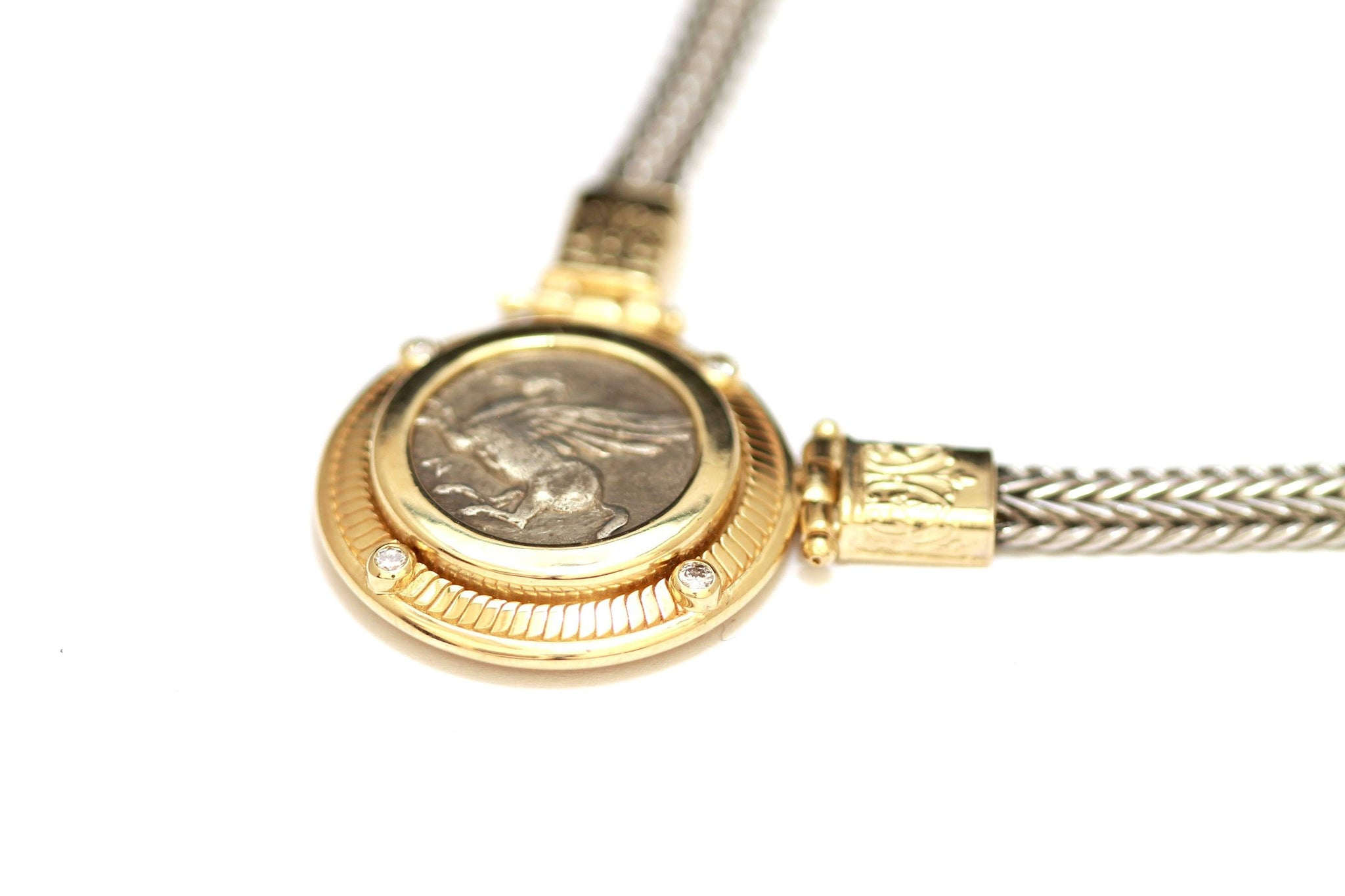 14K Gold Center Necklace, Diamonds (0.16 Ct), Silver Chain, Greek Coin, Pegasus, Cert. ID13115 - Erez Ancient Coin Jewelry