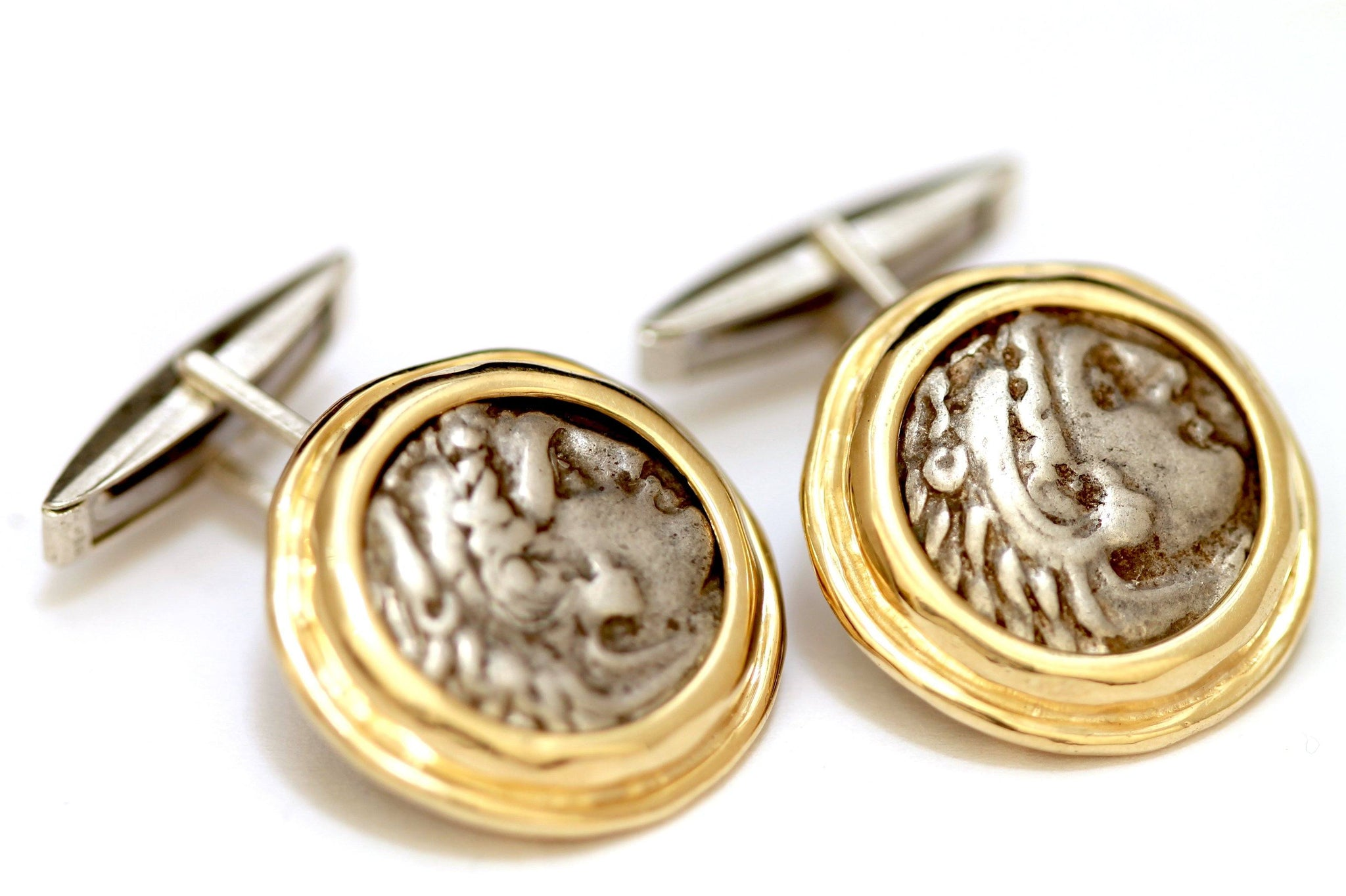 14K Gold Cufflinks, Alexander The Great, Greek Coins, Certificate ID13063 - Erez Ancient Coin Jewelry