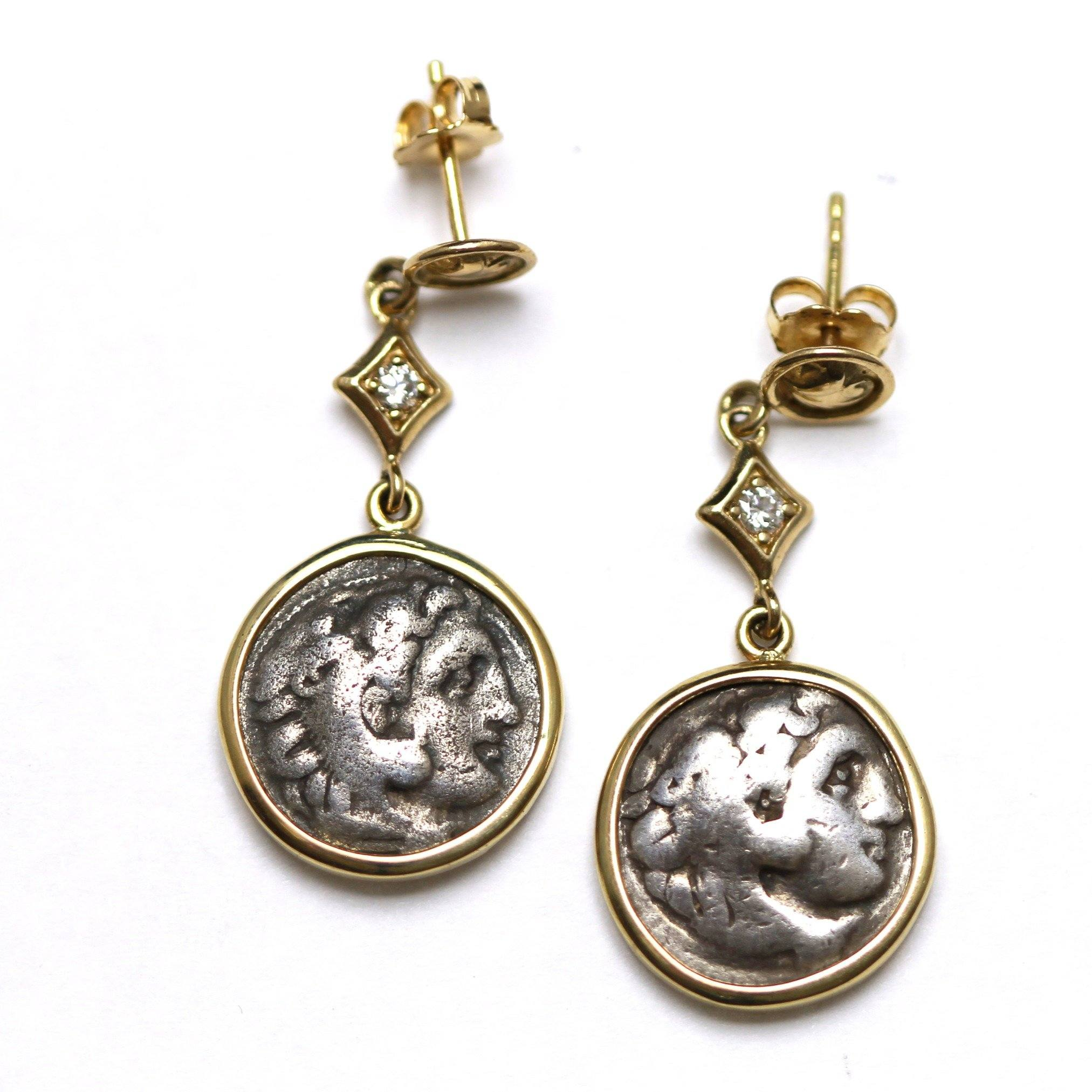 14K Gold Earrings, 0.08 CT Diamond Accents, Alexander the Great, Ancient Greek Drachm Coin, ID13381 - Erez Ancient Coin Jewelry