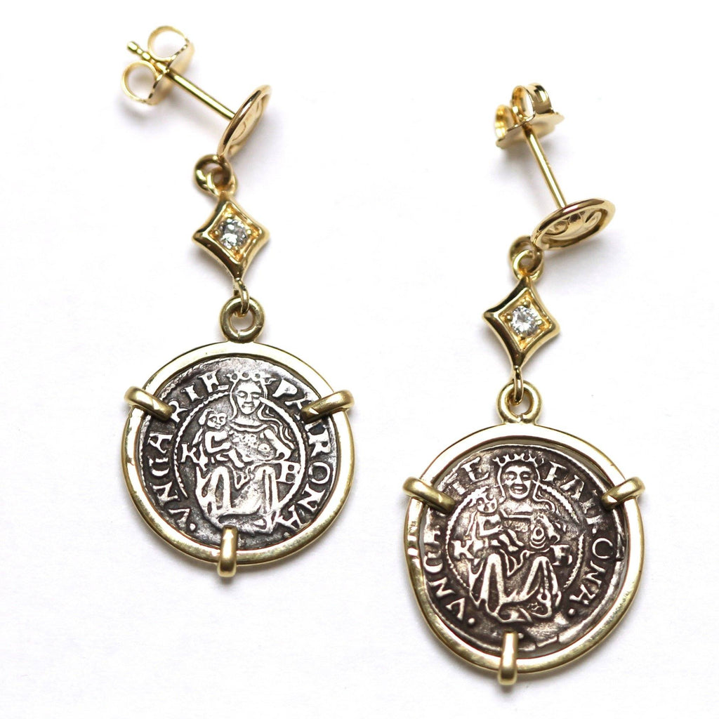 14K Gold Earrings, 0.08 CT Diamond Accents, Madonna and Child, Hungarian Coin, ID13264 - Erez Ancient Coin Jewelry