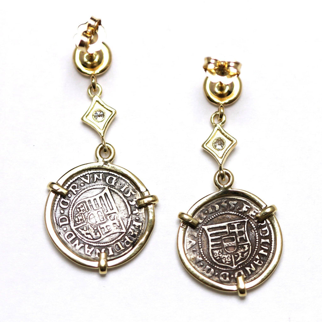 14K Gold Earrings, 0.08 CT Diamond Accents, Madonna and Child, Hungarian Coin, ID13265 - Erez Ancient Coin Jewelry