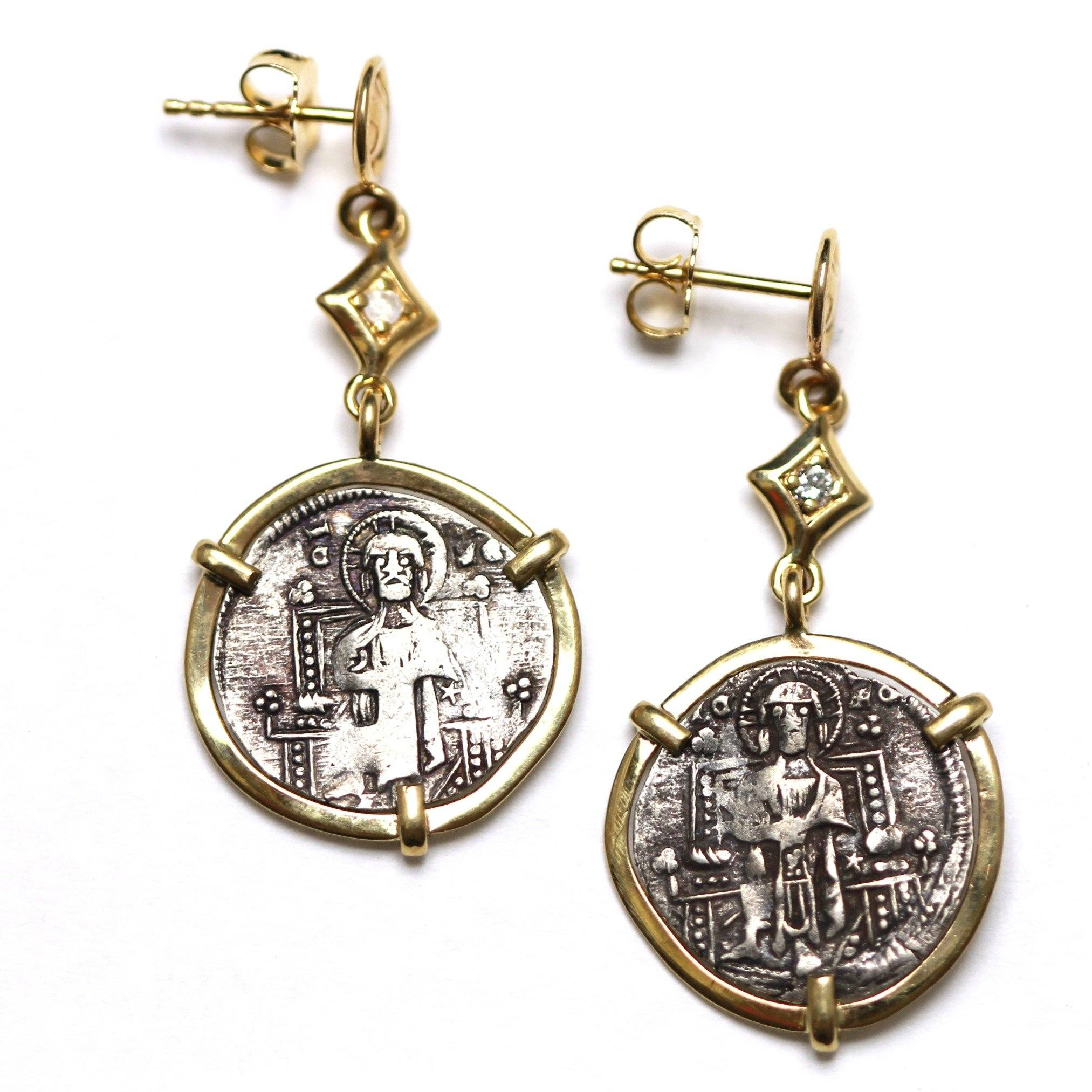14K Gold Earrings, 0.08 CT Diamond Accents, Venetian Grosso, Ancient Coin Earrings, ID13000 - Erez Ancient Coin Jewelry, ancient coin jewelry, men jewelry, genuine ancient coins, made in the US