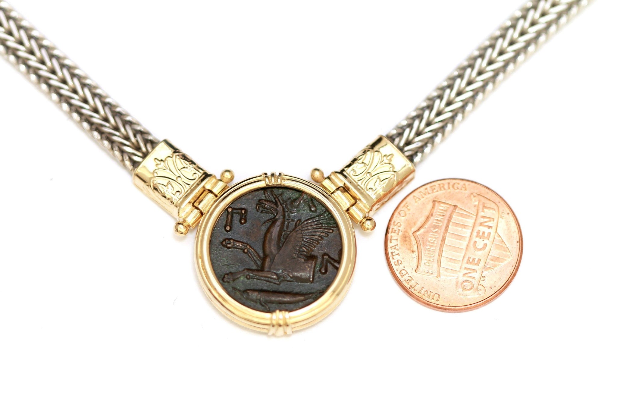 14K Gold Necklace, Silver Chain, Greek Bronze Coin, Certificate ID13033 - Erez Ancient Coin Jewelry, ancient coin jewelry, men jewelry, genuine ancient coins, made in the US