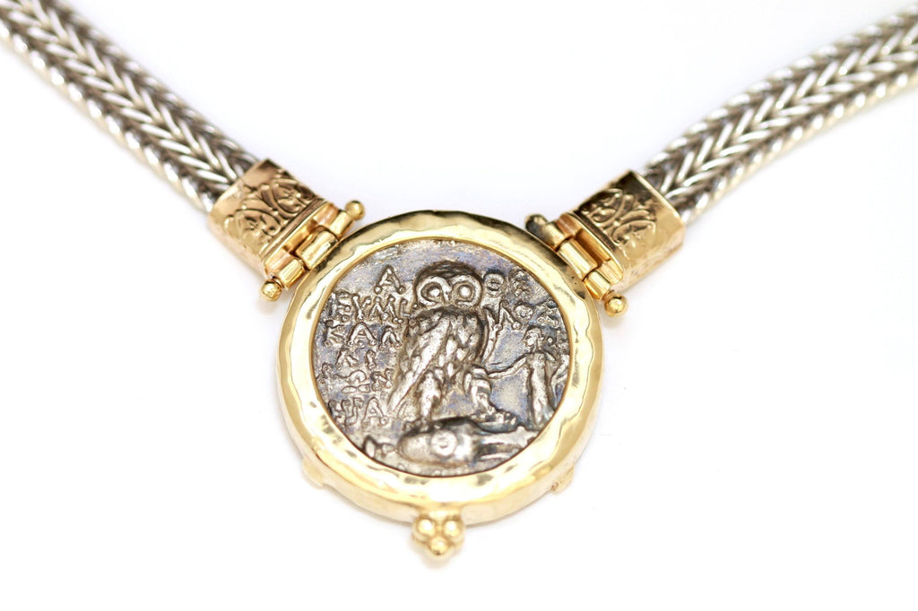 14K Gold Necklace, Silver Chain, Greek Coin, Cert. ID13132 - Erez Ancient Coin Jewelry