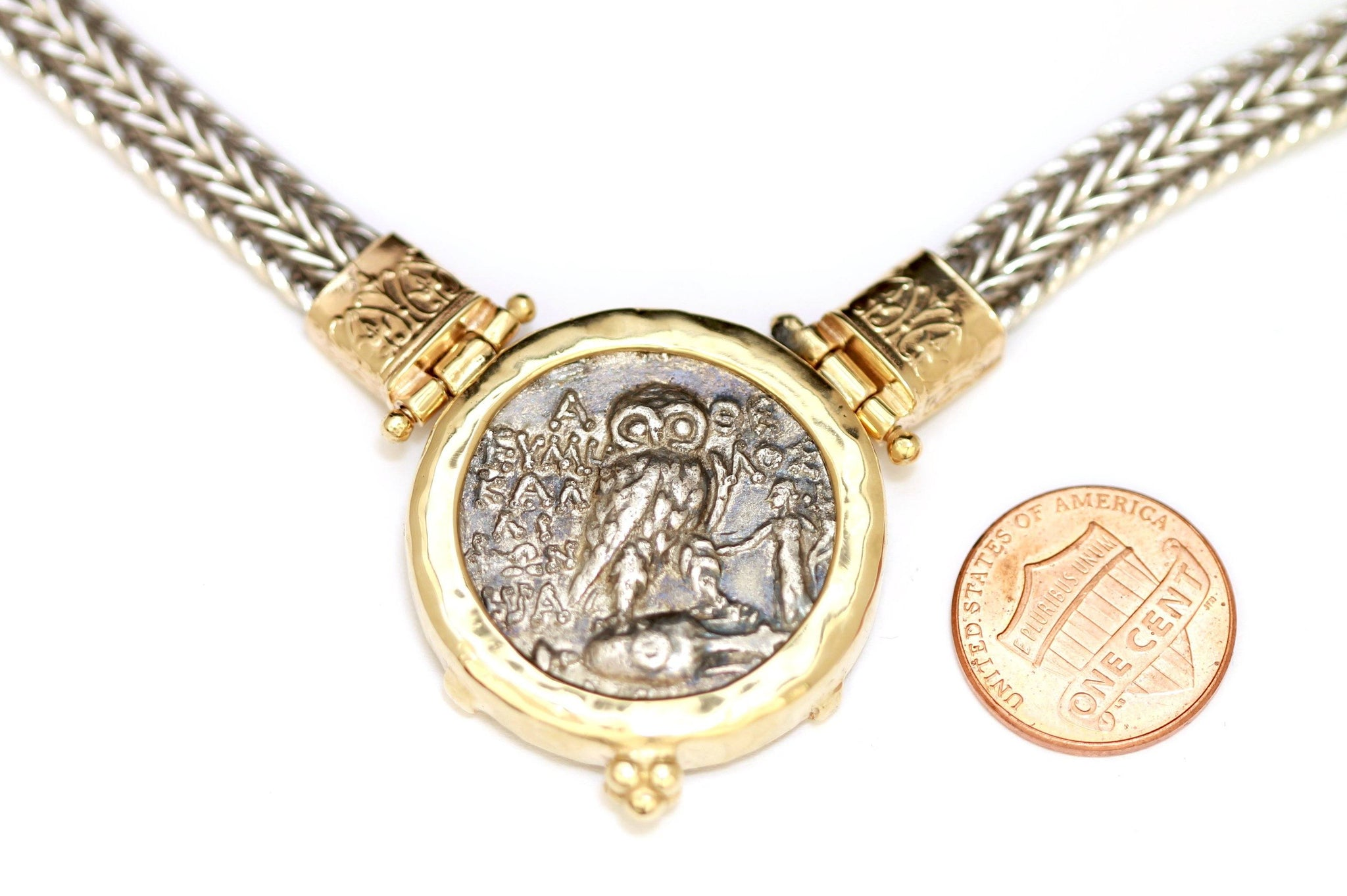14K Gold Necklace, Silver Chain, Greek Coin, Cert. ID13132 - Erez Ancient Coin Jewelry, ancient coin jewelry, men jewelry, genuine ancient coins, made in the US