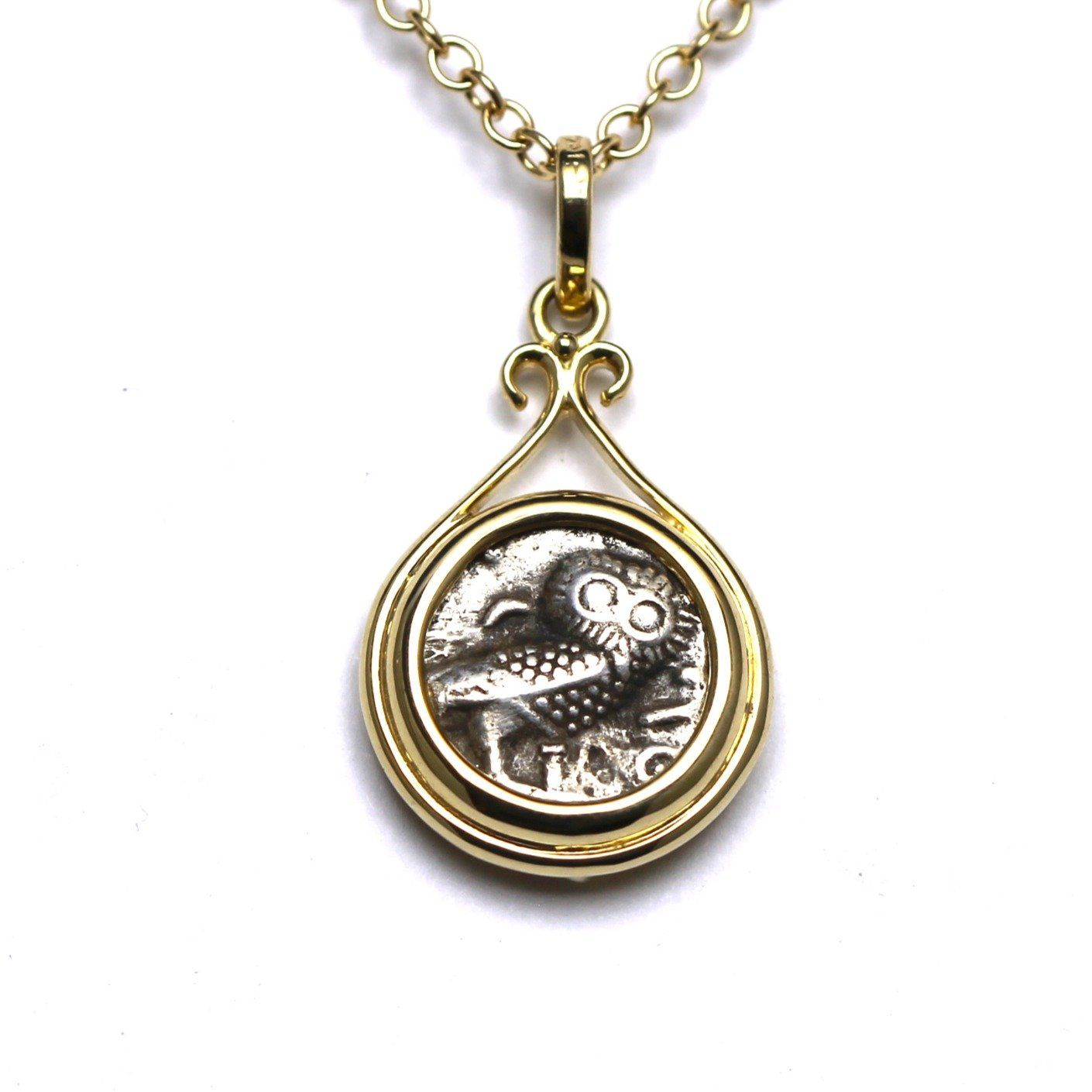 14K Gold Pendant, Arabian Owl, Ancient Greek Coin,  Cert. ID13124 - Erez Ancient Coin Jewelry
