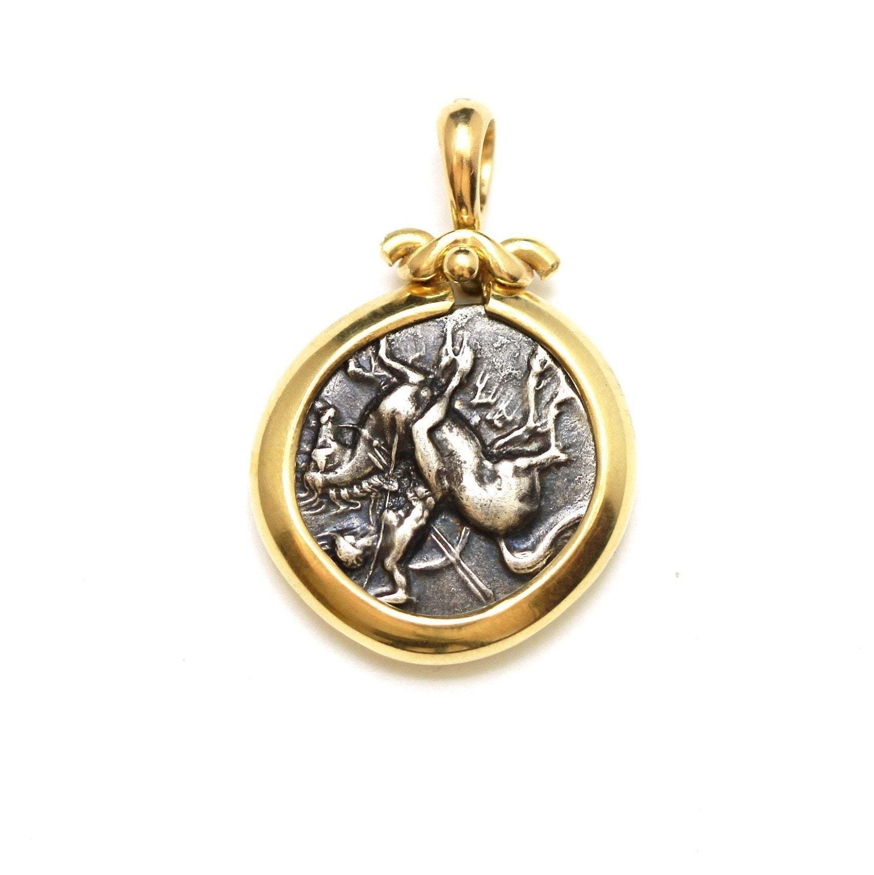 14K Gold Pendant, Boy on a Dolphin, Silver Nomos Coin, ID13392