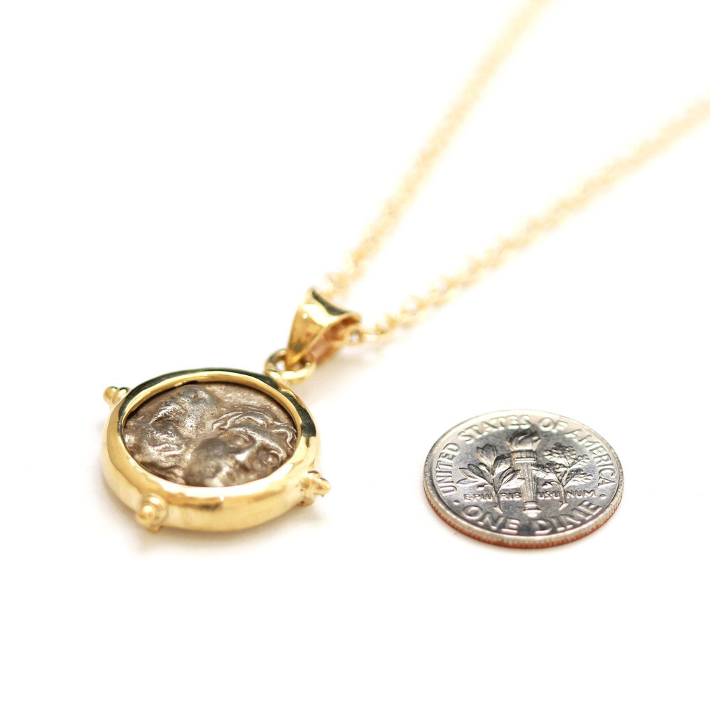14K Gold Pendant, GF Chain, Dioscuri, Istros Drachma Coin, ID13281 - Erez Ancient Coin Jewelry, ancient coin jewelry, men jewelry, genuine ancient coins, made in the US