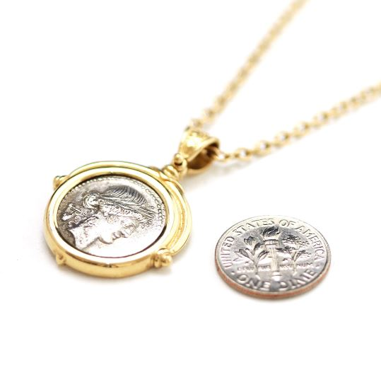 14K Gold Pendant, GF Chain, Roman Denarius Coin, ID12552 - Erez Ancient Coin Jewelry