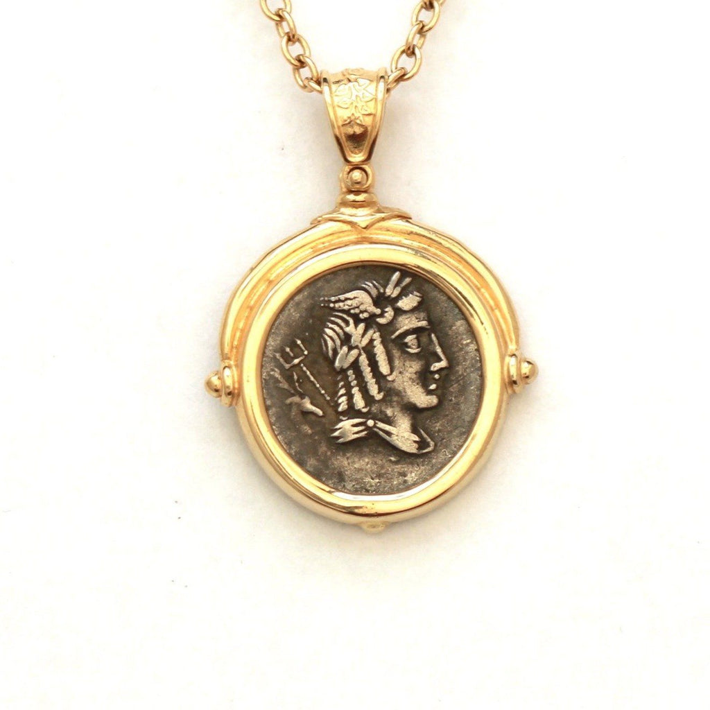 14K Gold Pendant, Roman Republic, Certificate  ID12471 - Erez Ancient Coin Jewelry, ancient coin jewelry, men jewelry, genuine ancient coins, made in the US