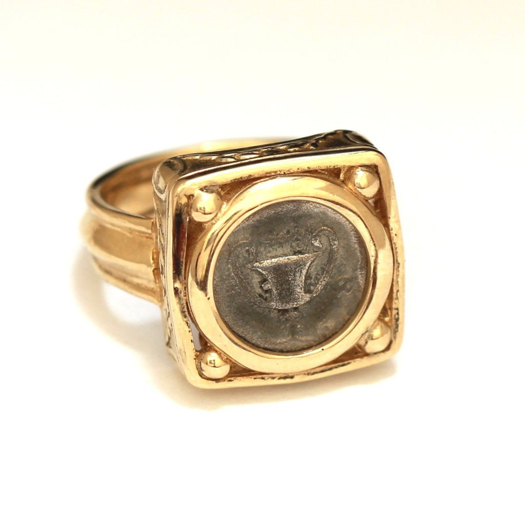 14K Gold Ring, Greek Ancient Coin, Tibs, Genuine Ancient Coin with Certificate  ID11170 - Erez Ancient Coin Jewelry