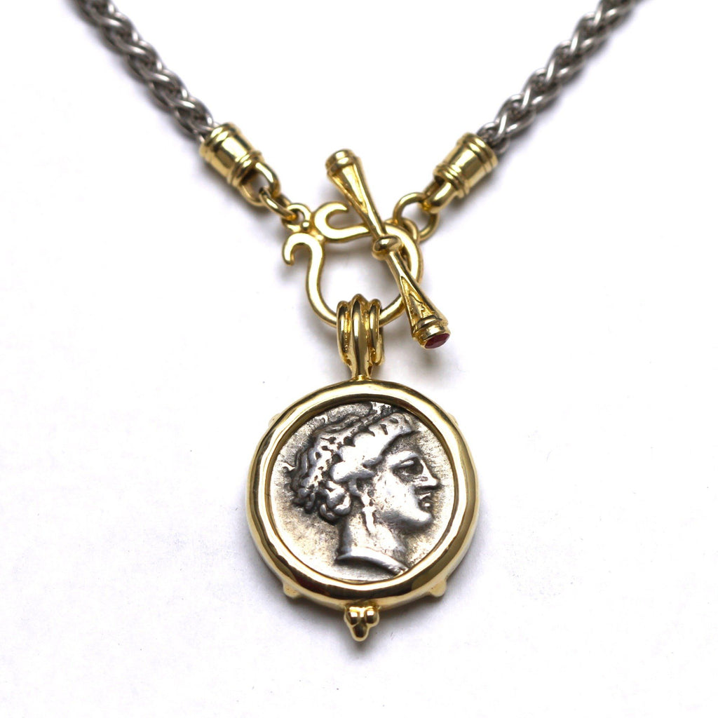 14K Gold Toggle, Ruby at T-bar, Sterling Silver Chain, Cert. ID13046 - Erez Ancient Coin Jewelry