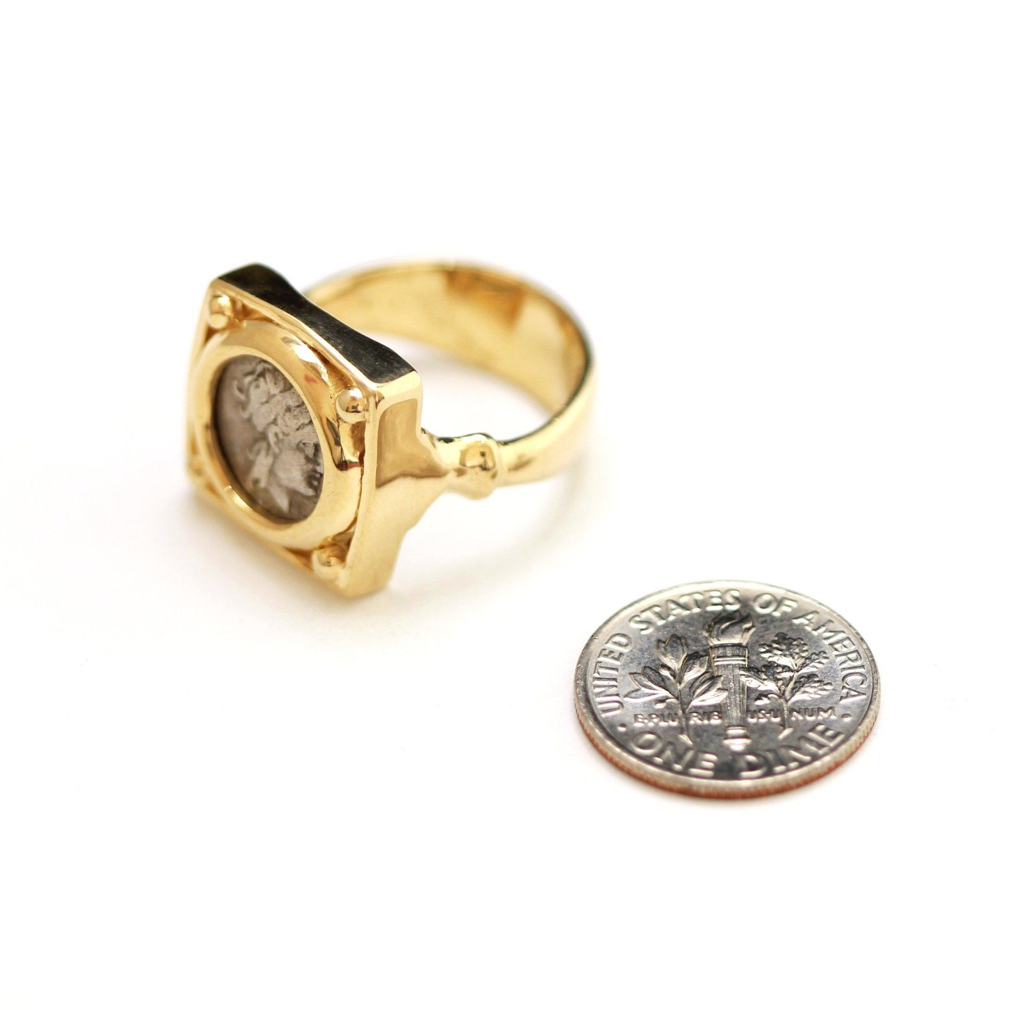 14K Square Gold Ring, Kios, Apollo, Hemidrachm Coin, ID13260 - Erez Ancient Coin Jewelry, ancient coin jewelry, men jewelry, genuine ancient coins, made in the US