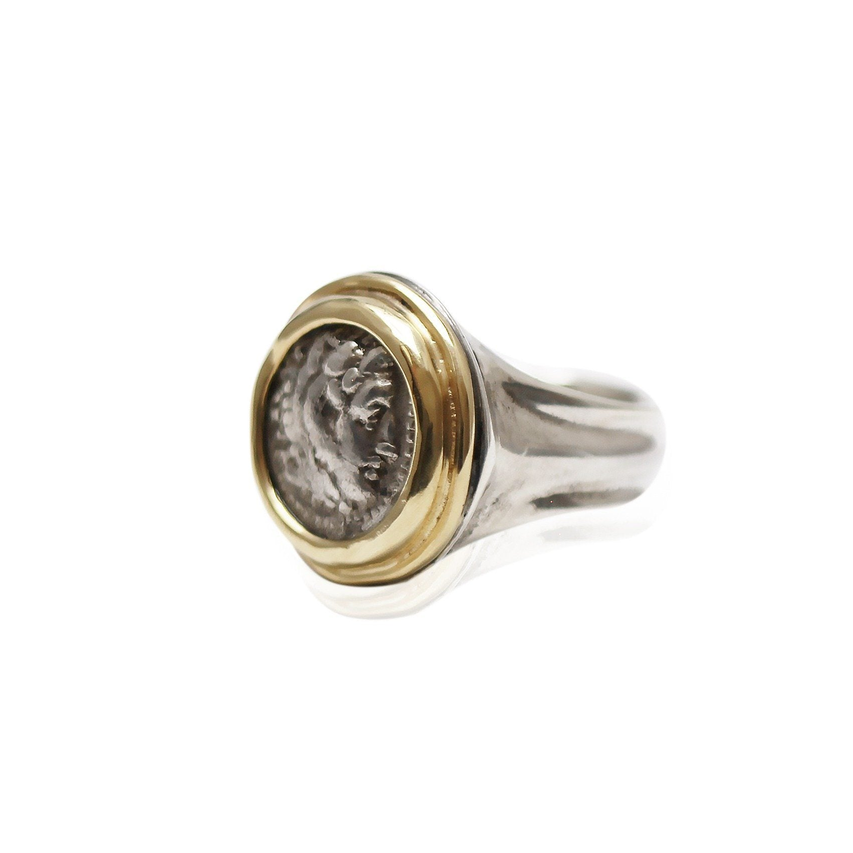 18K Gold Bezel, Silver Ring, Alexander the Great, 6754 - Erez Ancient Coin Jewelry, ancient coin jewelry, men jewelry, genuine ancient coins, made in the US