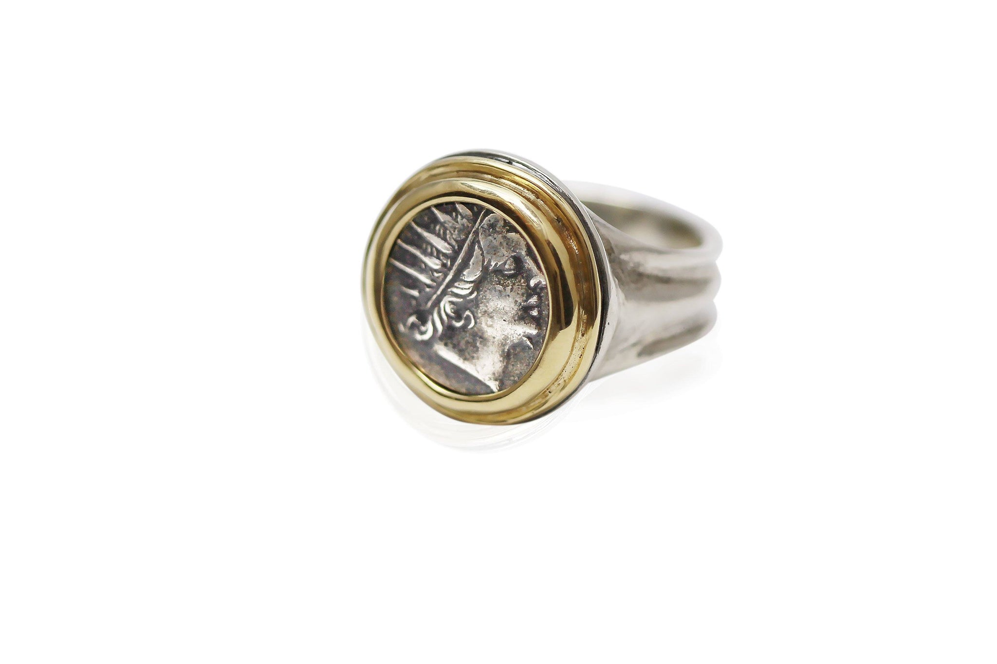 18K Gold Bezel, Silver Ring, Rhodes Drachm, Helios, 6753 - Erez Ancient Coin Jewelry