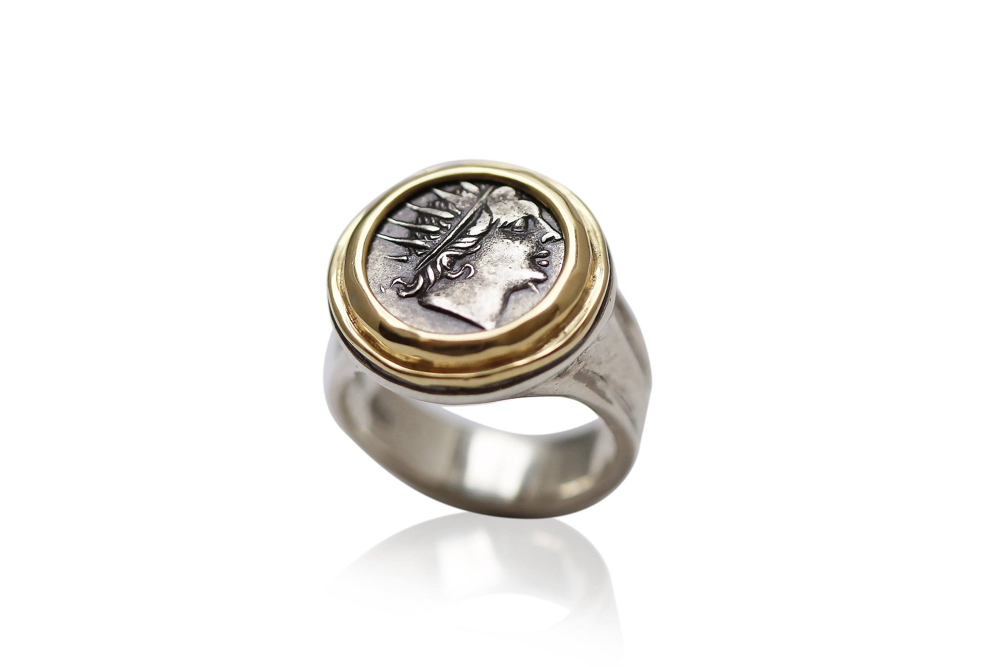 18K Gold Bezel, Silver Ring, Rhodes Drachm, Helios, 6753 - Erez Ancient Coin Jewelry, ancient coin jewelry, men jewelry, genuine ancient coins, made in the US
