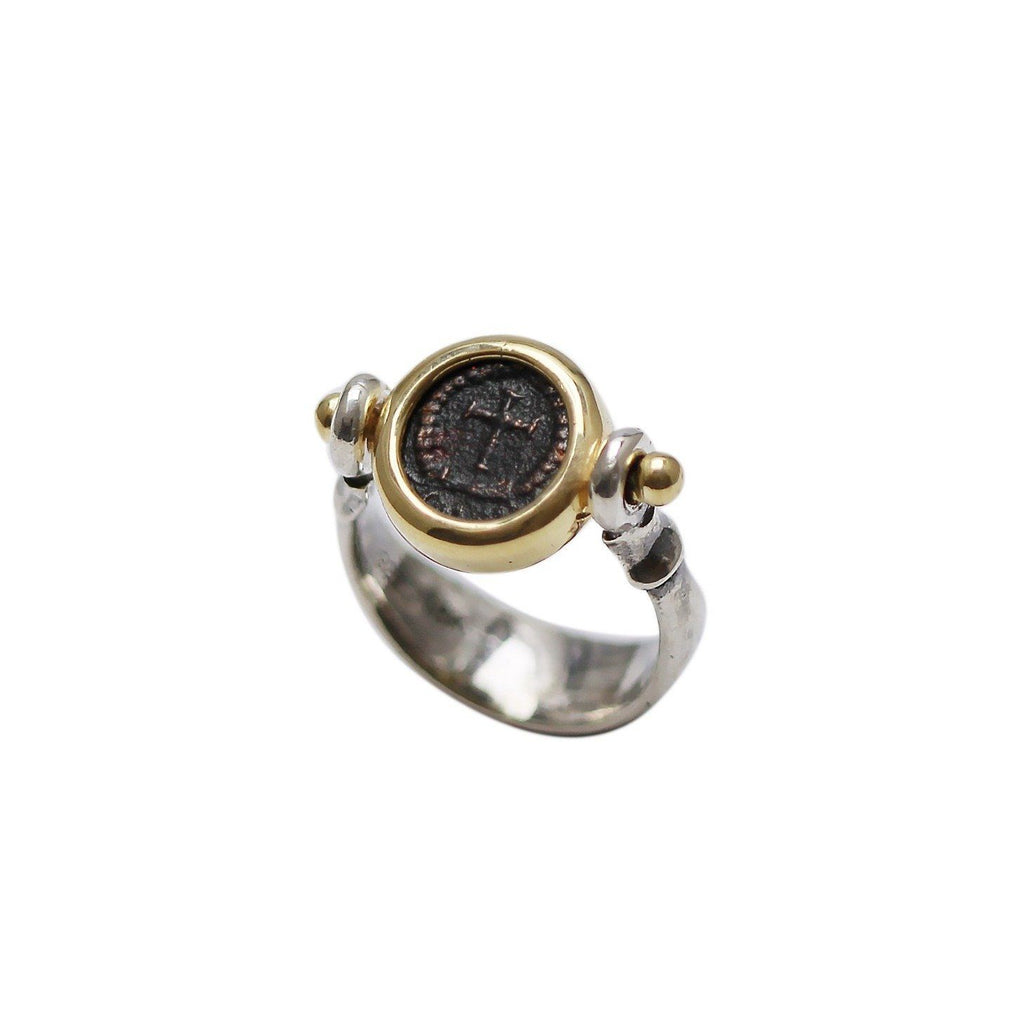 18K Gold Bezel, Silver Ring, Theodosius II, Roman Cross Coin, 6769 - Erez Ancient Coin Jewelry