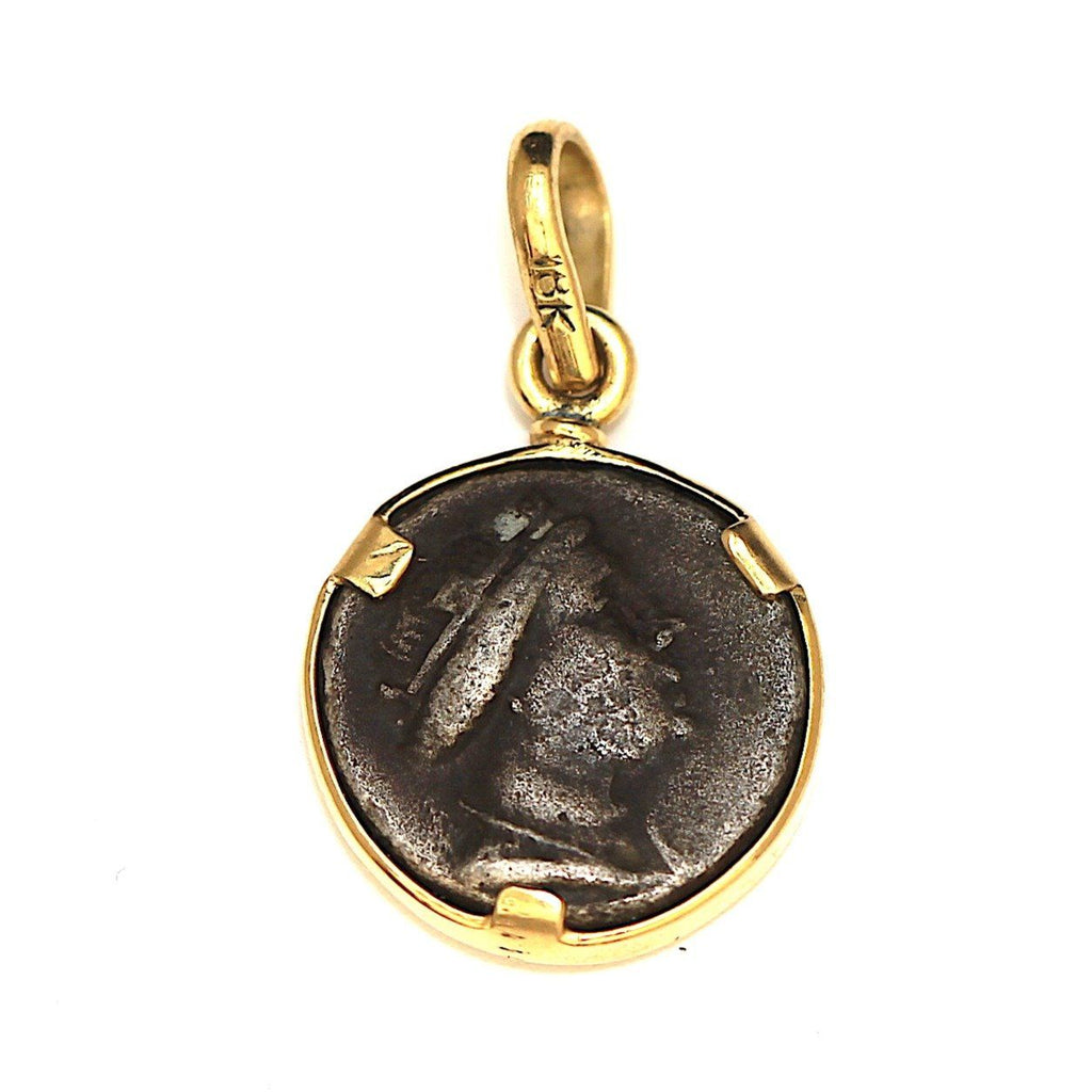 18K Gold Pendant, Amisos, Greek, Certificate ID12910 - Erez Ancient Coin Jewelry, ancient coin jewelry, men jewelry, genuine ancient coins, made in the US