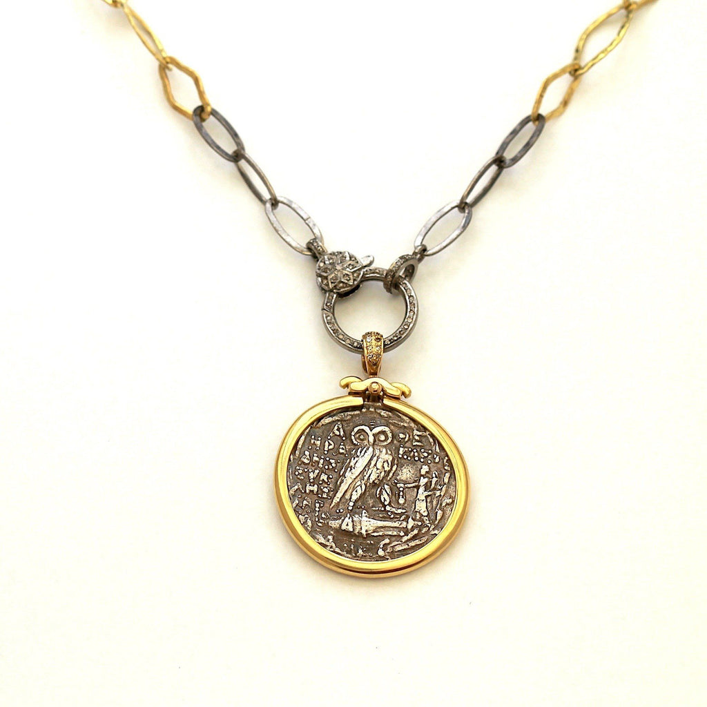 18K Gold Pendant, Diamonds Pave in Bail, with Certificate ID13107 - Erez Ancient Coin Jewelry, ancient coin jewelry, men jewelry, genuine ancient coins, made in the US