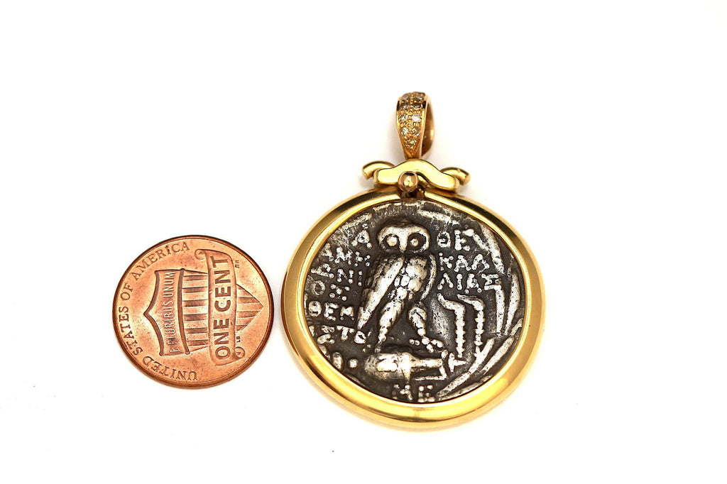 18K Gold Pendant, Diamonds Pave, with Certificate ID13062 - Erez Ancient Coin Jewelry, ancient coin jewelry, men jewelry, genuine ancient coins, made in the US
