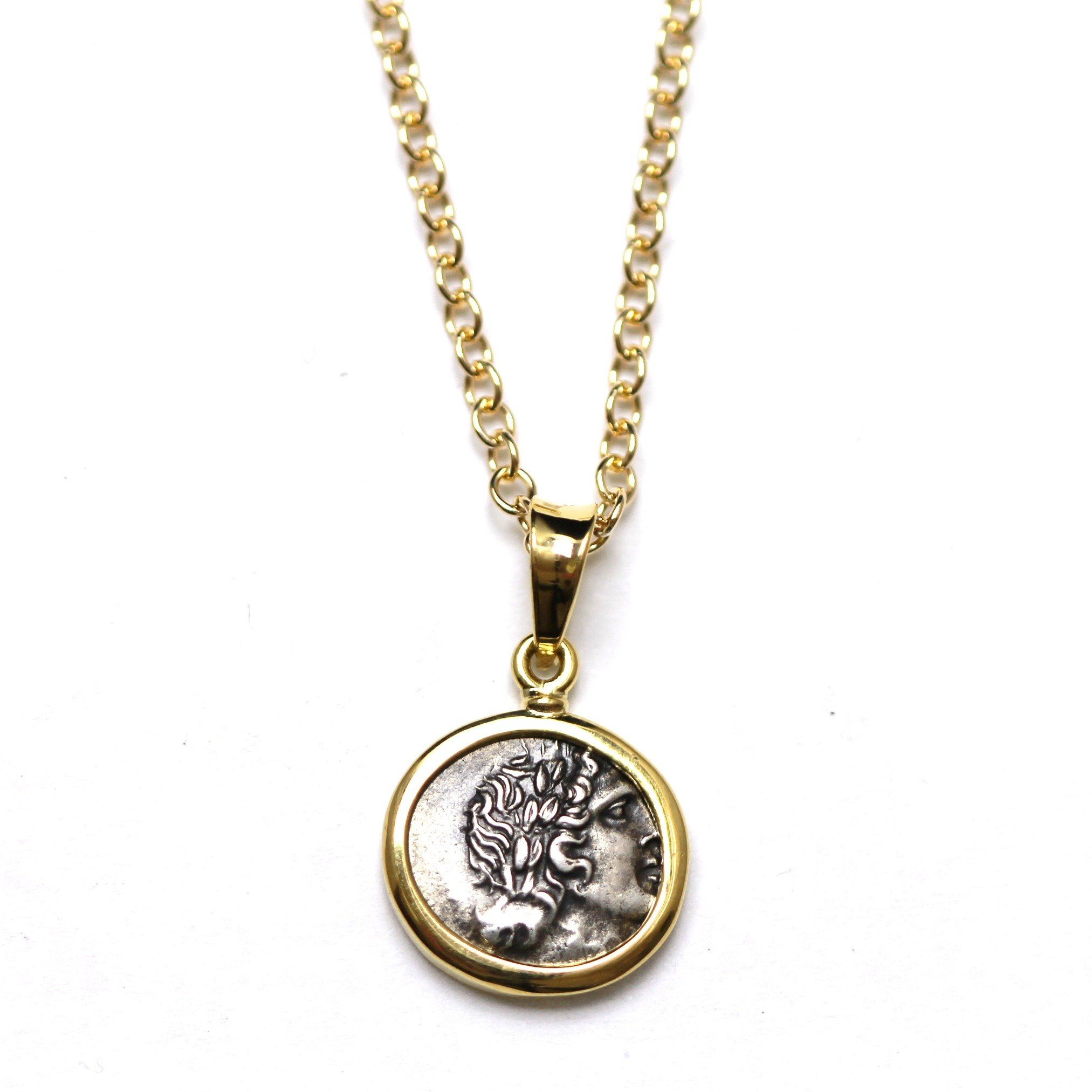 18K Gold Pendant, GF Chain, Lycian League Coin, ID13276 - Erez Ancient Coin Jewelry
