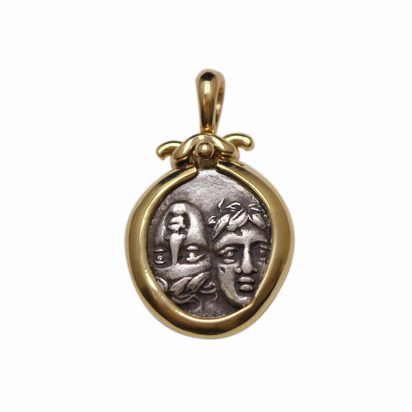 18K Gold Pendant, Istros, Drachma Coin, ID13331 - Erez Ancient Coin Jewelry