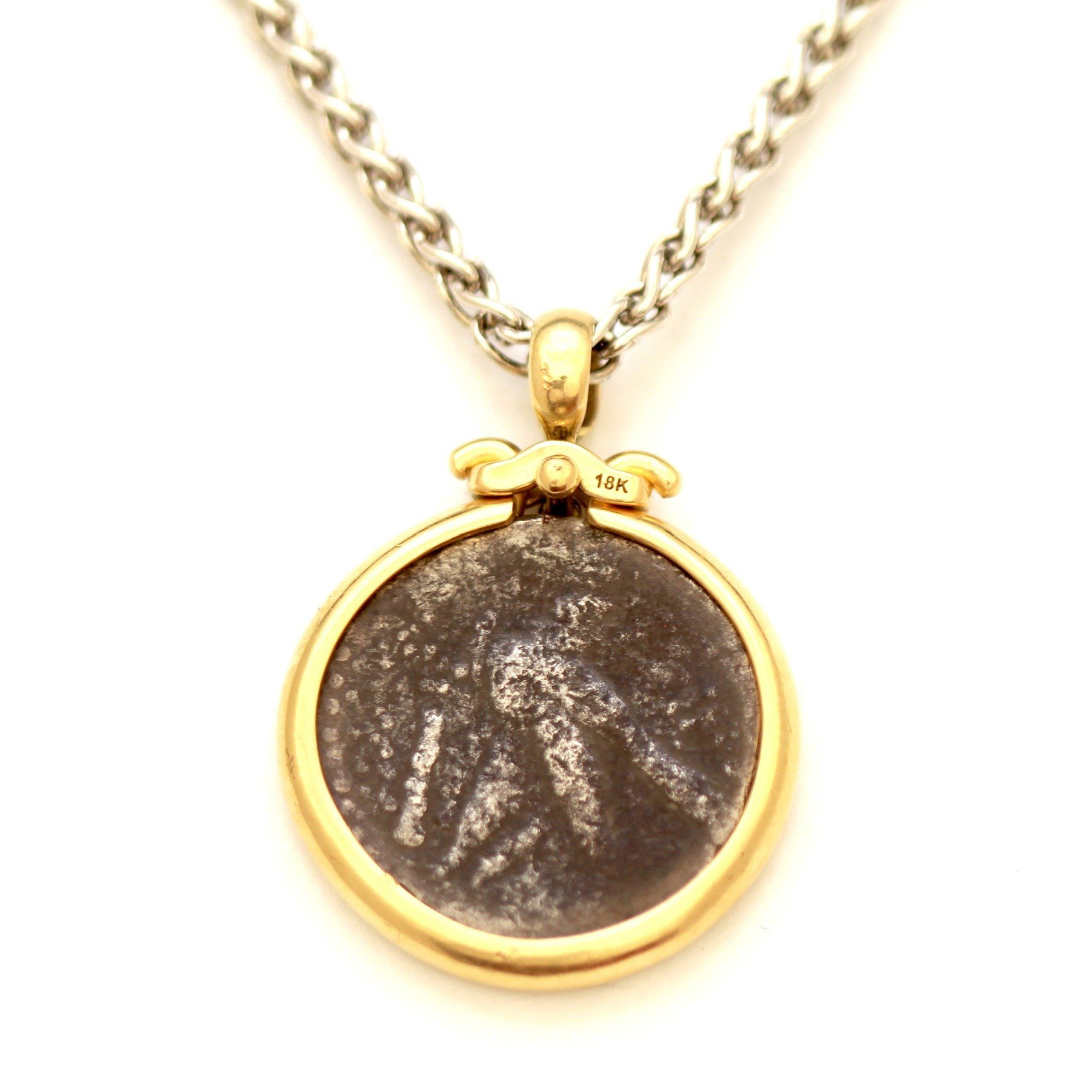 18K Gold Pendant, Silver Chain, Shekel of Tyre, ID12115, Certificate - Erez Ancient Coin Jewelry, ancient coin jewelry, men jewelry, genuine ancient coins, made in the US