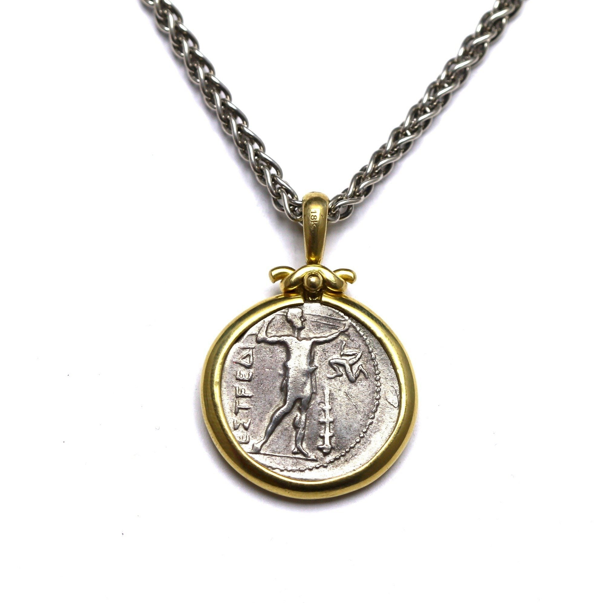 18K Gold Pendant, Sterling Silver Chain, Aspendos Olympic Games Coin, Greek, Cert. ID12797 - Erez Ancient Coin Jewelry, ancient coin jewelry, men jewelry, genuine ancient coins, made in the US