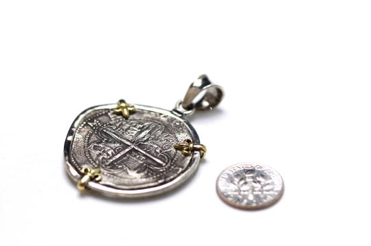 18K Gold Prongs, Silver Pendant, Felipe II, Spanish Coin, ID13346 - Erez Ancient Coin Jewelry